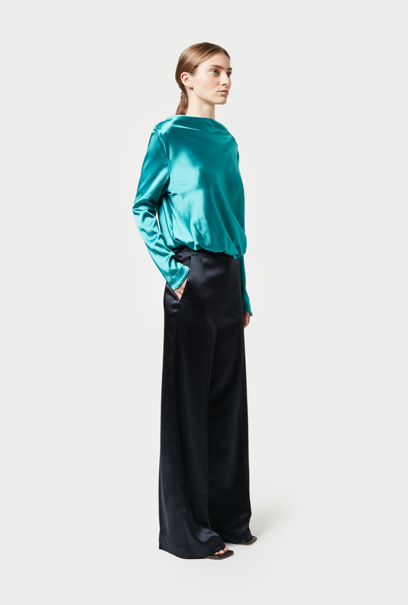 wide pants in shiny satin