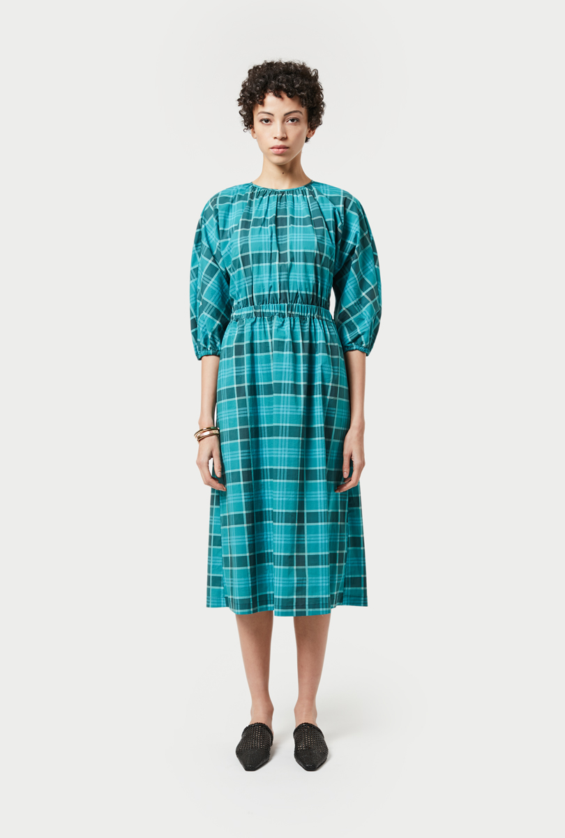checked print long dress