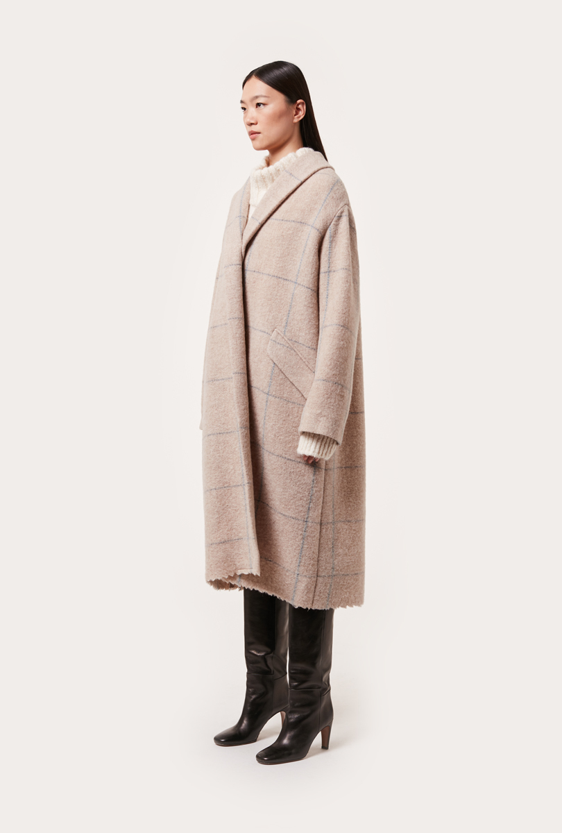 virgin wool check pattern coat