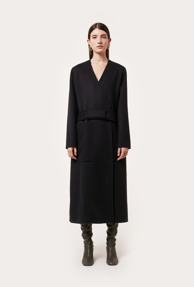 long and belted coat